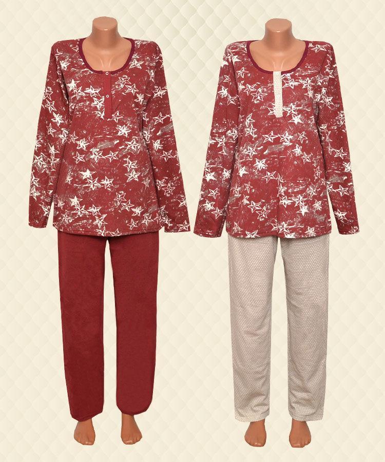 Пижама женская с планкой Звезда бордо начес