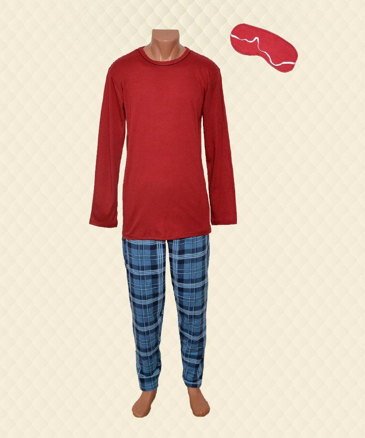 Пижама мужская Лучи без планки бордо интелок + начёс
