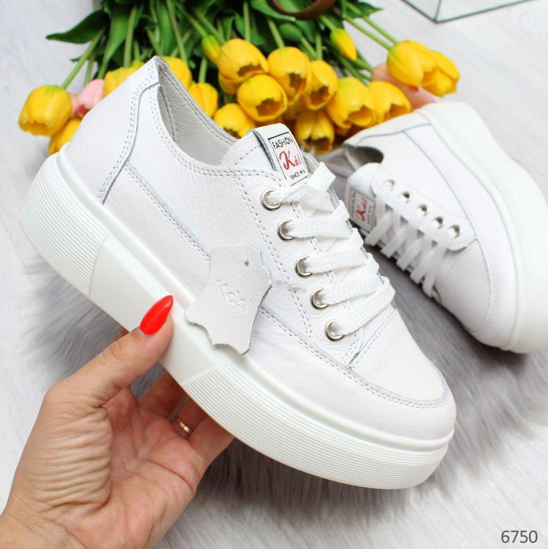 Молодежные белые женские кроссовки кеды крипперы из натуральной кожи