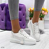 Молодежные белые женские кроссовки кеды крипперы из натуральной кожи, фото 2