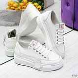 Молодежные белые женские кроссовки кеды крипперы из натуральной кожи, фото 3