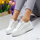 Молодежные белые женские кроссовки кеды крипперы из натуральной кожи, фото 4