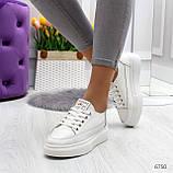 Молодежные белые женские кроссовки кеды крипперы из натуральной кожи, фото 5