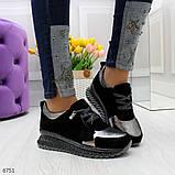 Эффектные черные серебристые женские кроссовки Натуральная Замша с напылением, фото 2