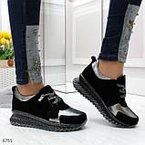 Эффектные черные серебристые женские кроссовки Натуральная Замша с напылением, фото 3