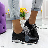 Стильные повседневные черные женские кроссовки натуральная кожа, фото 2