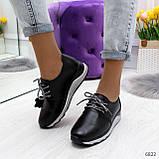 Стильные повседневные черные женские кроссовки натуральная кожа, фото 3