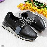 Стильные повседневные черные женские кроссовки натуральная кожа, фото 4