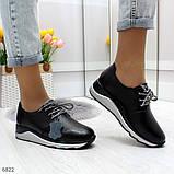 Стильные повседневные черные женские кроссовки натуральная кожа, фото 5