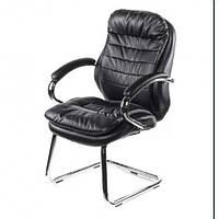 Кресло офисное для руководителя NEO OPTIMA на полозьях Черное (ЭKO-кожа/хром)