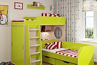 Кровать-чердак для двух детей со шкафом и полками КЧД 101 (80х190 см)