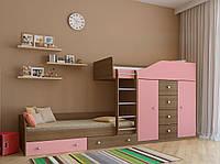 Кровать-чердак для двух детей КЧД 104 с двумя шкафами и комодом