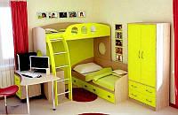 Кровать-чердак для двух детей КЧД 105 со шкафом и столом (ЛДСП 18 мм)