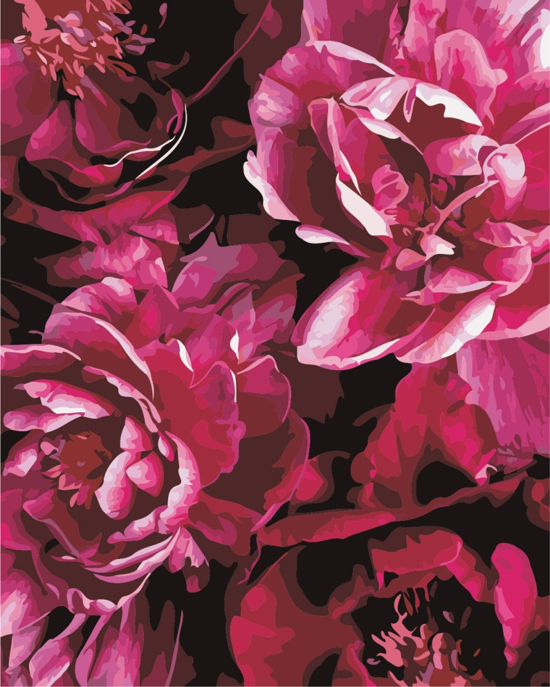 AS0839 Набір для малювання по номерах Розкішні квіти, В картонній коробці
