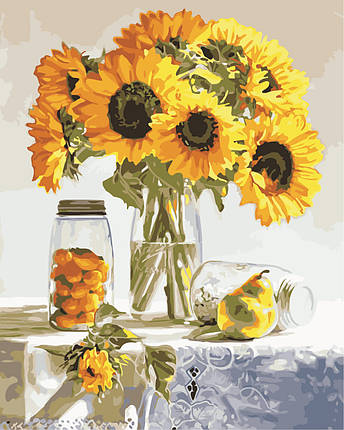 AS0847 Набор для рисования по номерам Натюрморт с подсолнухами, В картонной коробке, фото 2