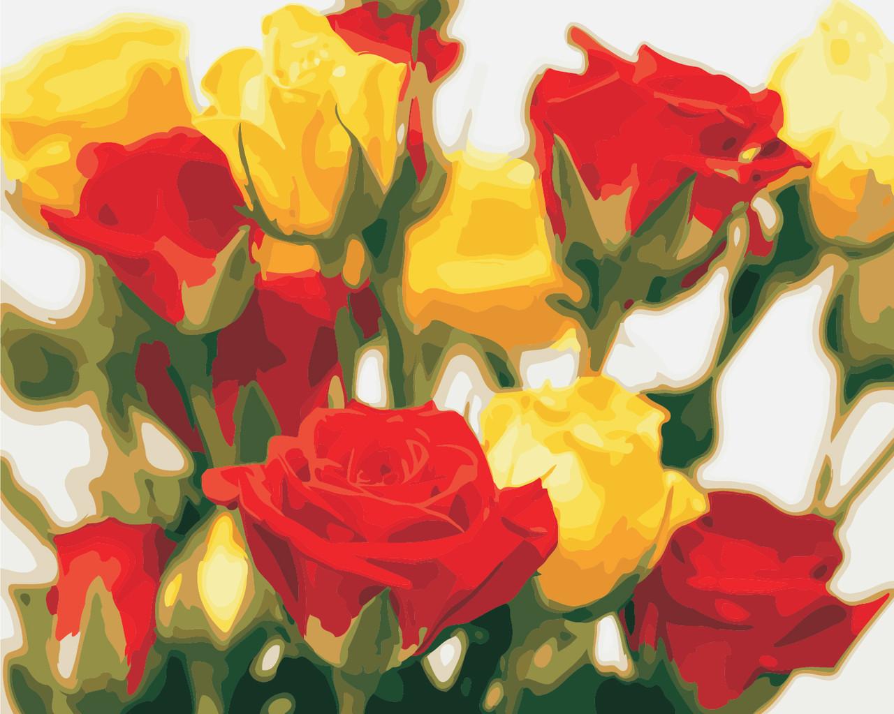AS0851 Набір для малювання за номерами Жовто-червоні троянди, В картонній коробці