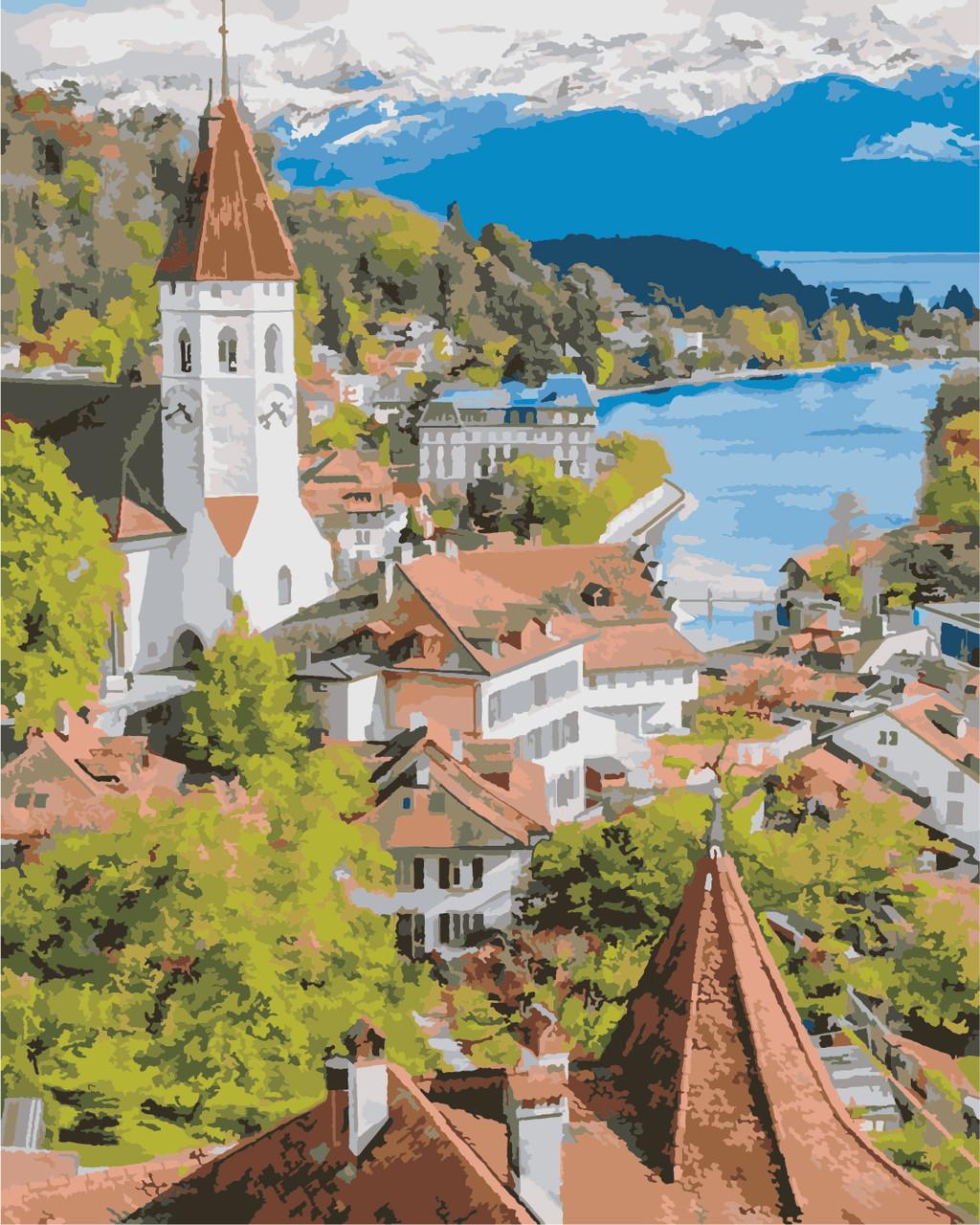 AS0862 Набор для рисования по номерам Швейцарский город, В картонной коробке