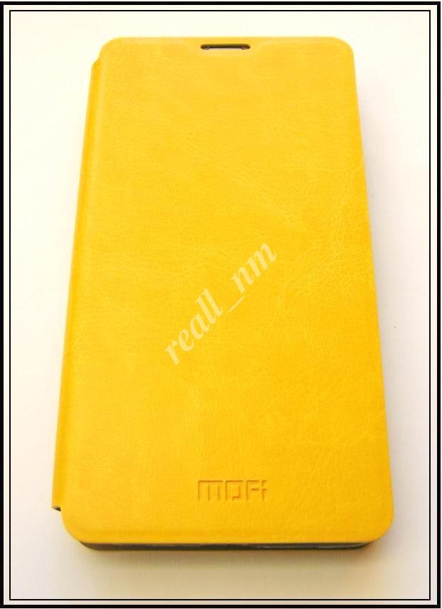 Желтый кожаный чехол Mofi для смартфона Microsoft Lumia 535