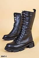 Ботинки МИЛИТАРИ женские черные из натуральной кожи, фото 1