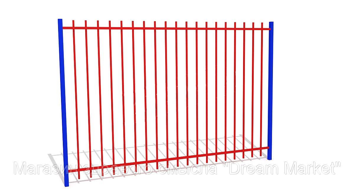 Металлическое ограждение с вертикальным заполнением для ограждения игровой площадки, зонирования 200х4х300 см