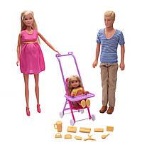 Игровой набор из 3 кукол Штеффи, Кевин, Еви с прогулочной коляской аксессуарами - Happy Family Steffi Love