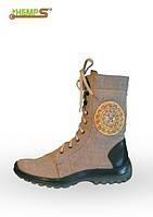 Обувь из конопли. Ботинки мужские с высокими берцами «Коловрат»