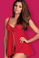 Пеньюар со стрингами Obsessive Rougebelle babydoll, Красный,  День влюбленных, фото 1
