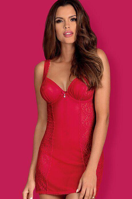 Сорочка со стрингами Obsessive Rougebelle chemise, Красный, День влюбленных