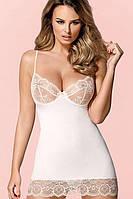 Сорочка со стрингами Obsessive 874-CHE-2 chemise, Экри, Свадебное белье, фото 1