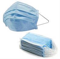 Маска защитная для лица 3-х слойная пайка синяя