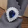 Серебряное кольцо размер 20 ширина 15 мм вставка синие фианиты вес 3.6 г, фото 2