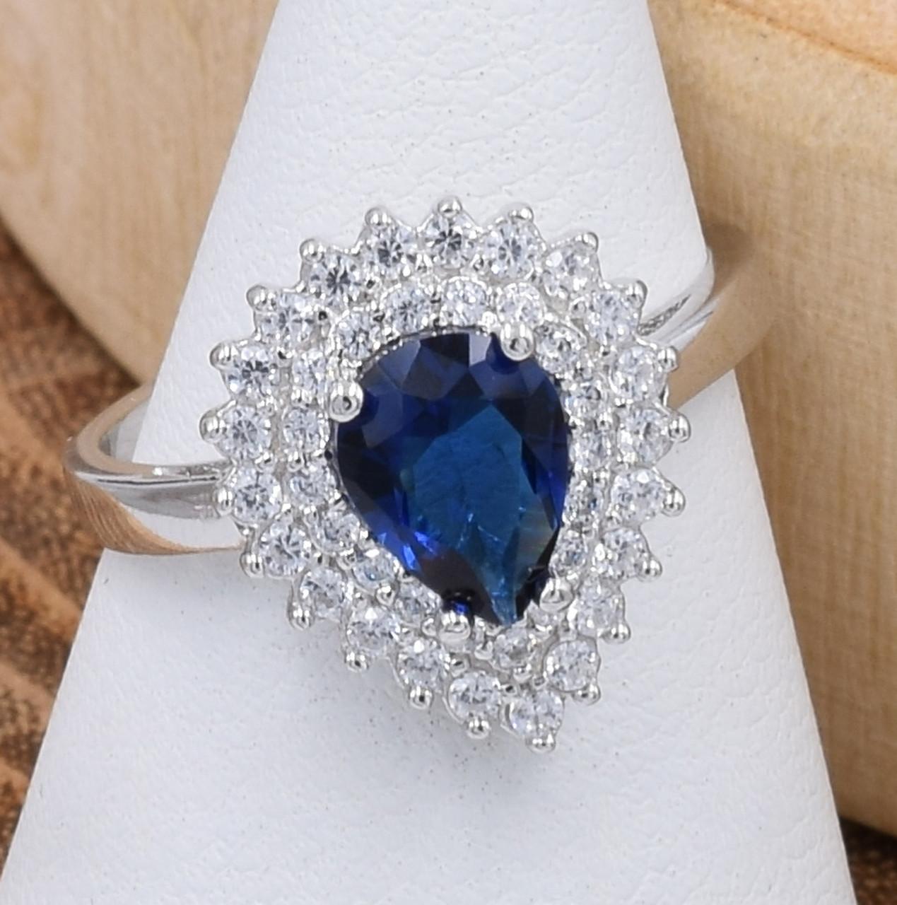 Серебряное кольцо размер 20 ширина 15 мм вставка синие фианиты вес 3.6 г