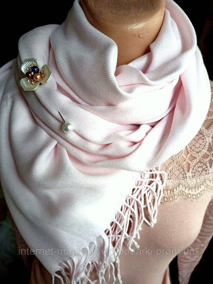 Палантин кашемир в ассортименте бледно-розовый