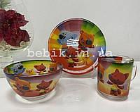 Подарочный набор детской посуды из стекла Ми-ми-мишки