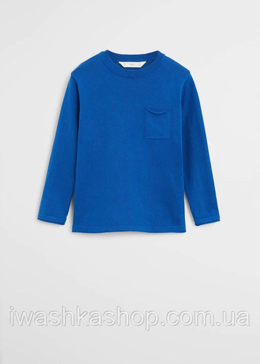 Модный синий джемпер с карманом на мальчика 10 лет, р. 140, Mango