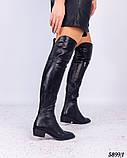 Зимние ботфорты женские черные, фото 2