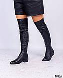 Зимние ботфорты женские черные, фото 3