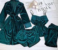 Женская велюровая пижама четверка M волна, фото 1