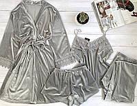 Женская велюровая пижама четверка L размер, фото 1