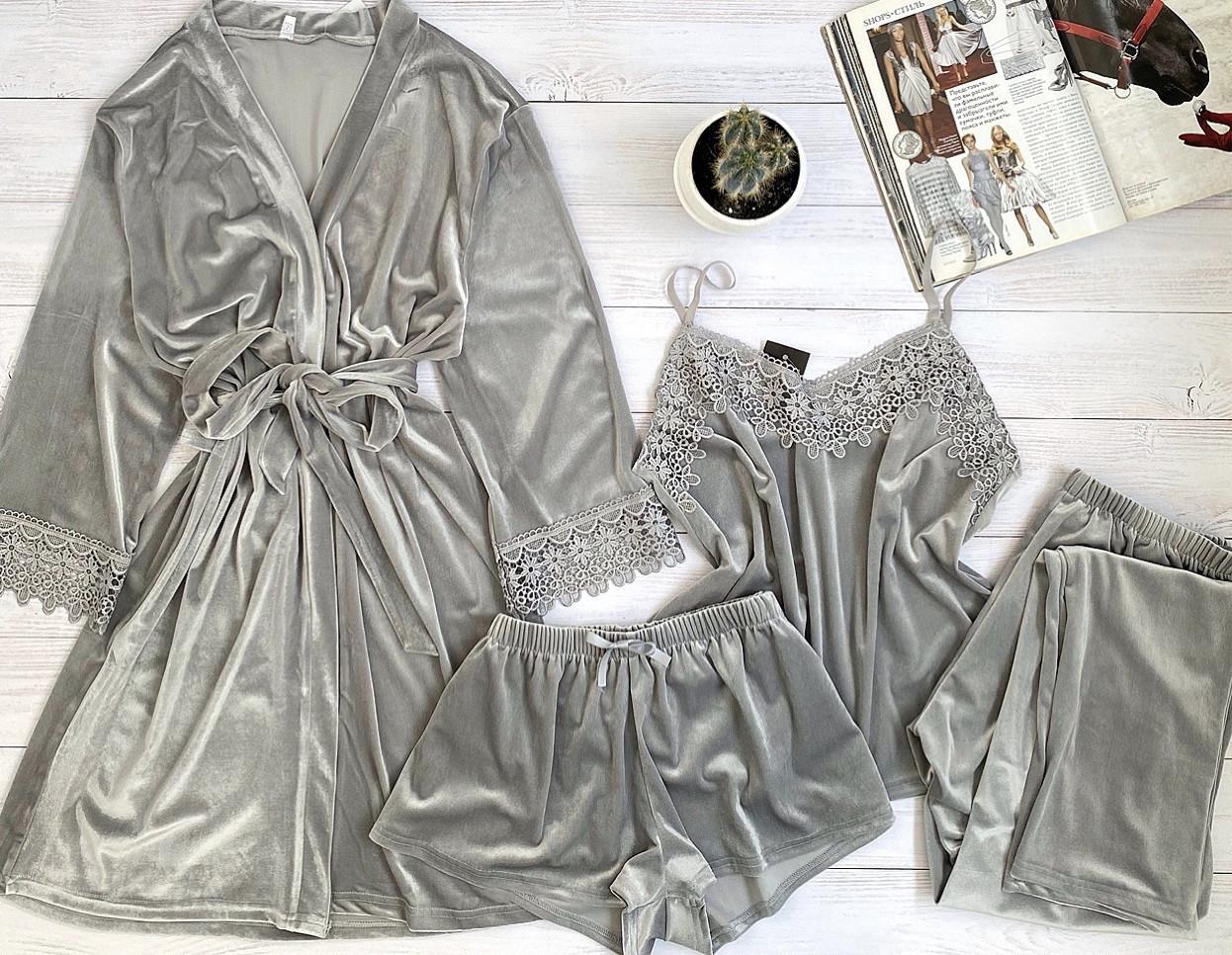 Женская велюровая пижама четверка L размер