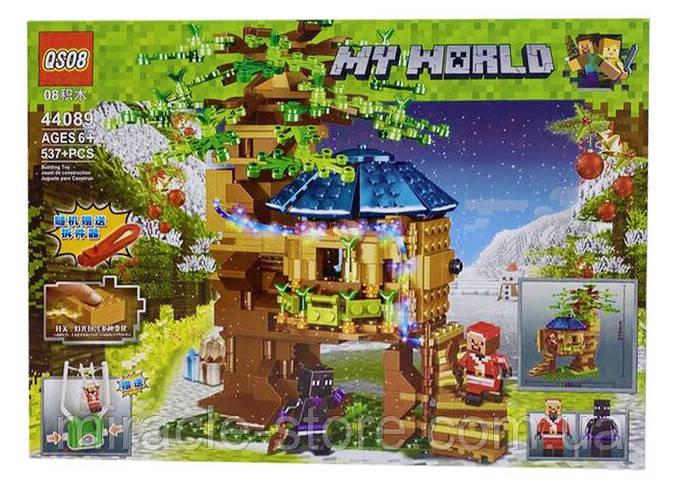 Конструктор QS08  майнкрафт Рождественский домик на дереве 537 деталей + свет