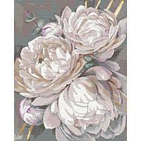 Картина малювання за номерами Ідейка Білий піон з золотою фарбою КНО3115 40х50см набір для розпису, фарби,