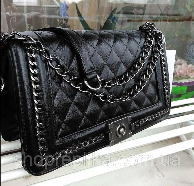 Модные женские сумки реплики . Женская сумка брендовая через плечо черная Сумки жіночі через плече 2020
