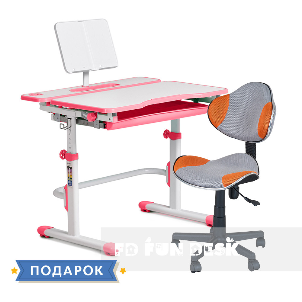 Комплект для девочки растущая парта Cubby Fressia Pink + компьютерное кресло FunDesk LST3 Orange-Grey