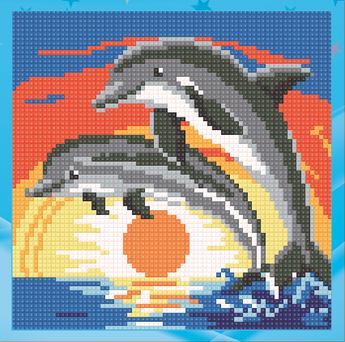 Алмазна мозаїка для дітей Пара дельфінів UA-011 18х18см Набір алмазної вишивки 12кол, квадратні,