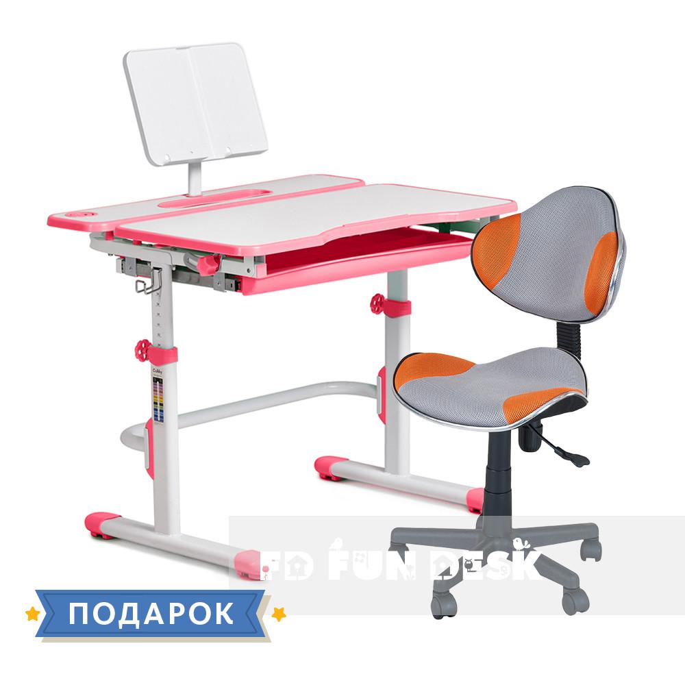 Комплект для девочки растущая парта Cubby Fressia Pink + компьютерное кресло FunDesk LST3 Orange-Grey