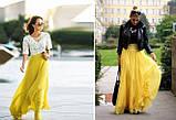 Женская желтая шифоновая юбка макси, фото 3