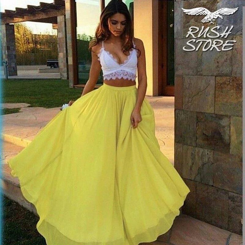 Женская желтая шифоновая юбка макси