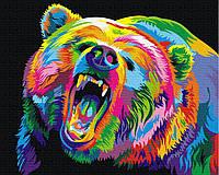 Картина малювання за номерами Brushme Райдужний ведмідь грізлі 40х50см малювання розпис по номерах, пензля,