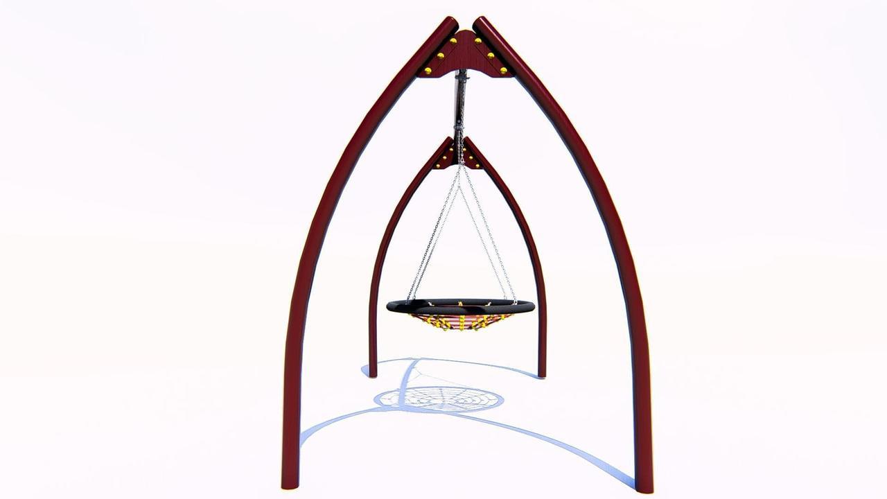 Качели «Гнездо» на металлических стойках с гибким подвесом